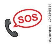 phone sos vector | Shutterstock .eps vector #1043545594
