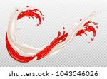splashes of milk and strawberry ... | Shutterstock .eps vector #1043546026