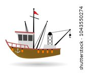 fishing boat or ship  isolated... | Shutterstock .eps vector #1043550274