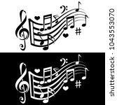 music notes melody icon. black... | Shutterstock .eps vector #1043553070