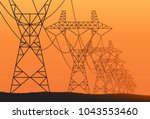 transmission towers orange... | Shutterstock .eps vector #1043553460