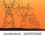 transmission towers orange... | Shutterstock .eps vector #1043553460