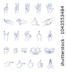 hand gestures contour vector set | Shutterstock .eps vector #1043553484