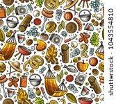 cartoon cute hand drawn picnic... | Shutterstock .eps vector #1043554810