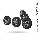 car tires in v formation | Shutterstock .eps vector #1043556634