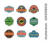 set of vintage steak house... | Shutterstock .eps vector #1043558533