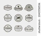 set of vintage steak house... | Shutterstock .eps vector #1043558536