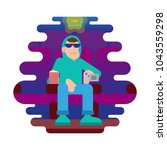 young angry man thief in... | Shutterstock .eps vector #1043559298