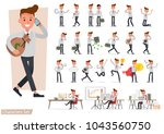 set of businessman working and... | Shutterstock .eps vector #1043560750