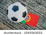 classic leather soccer ball... | Shutterstock . vector #1043563033