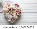 big flowers heart in pastel... | Shutterstock . vector #1043564596