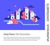 cozy town  row of houses by the ... | Shutterstock .eps vector #1043566873