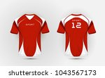 red and white pattern sport... | Shutterstock .eps vector #1043567173