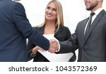 closeup of handshake of... | Shutterstock . vector #1043572369