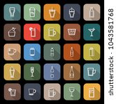 beverage line flat icons with... | Shutterstock .eps vector #1043581768