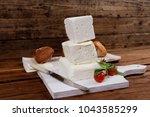 dairy healthy food fresh white... | Shutterstock . vector #1043585299