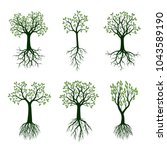 set of green spring trees with... | Shutterstock .eps vector #1043589190