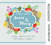 cute spring invitation with... | Shutterstock .eps vector #1043591536
