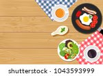 top viewed table set of... | Shutterstock .eps vector #1043593999