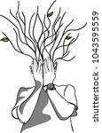 vector art drawing of human... | Shutterstock .eps vector #1043595559