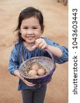 Happy Young Girl Holding Basket ...