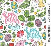 happy easter. seamless vector... | Shutterstock .eps vector #1043606224