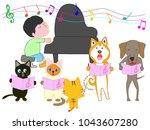 dog and cat concert. children... | Shutterstock .eps vector #1043607280