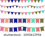 gentle colored garland set   Shutterstock .eps vector #1043612956