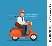businessman riding motorcycle... | Shutterstock .eps vector #1043612968