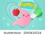 cute cartoon stomach on the... | Shutterstock .eps vector #1043614216