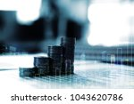 double exposure of coin stack...   Shutterstock . vector #1043620786