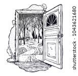 open door into a nature. hand... | Shutterstock .eps vector #1043621680