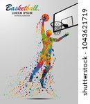 visual drawing basketball sport ... | Shutterstock .eps vector #1043621719