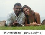young romantic mixed race... | Shutterstock . vector #1043625946