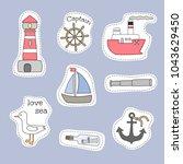 set of nautical cartoon... | Shutterstock .eps vector #1043629450