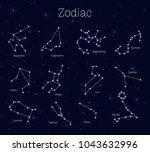 set zodiac signs  night sky... | Shutterstock .eps vector #1043632996
