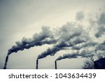 many large pipes of which goes... | Shutterstock . vector #1043634439