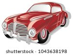vintage red car and shadow | Shutterstock . vector #1043638198