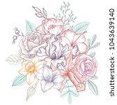 vintage vector floral...   Shutterstock .eps vector #1043639140
