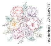 vintage vector floral...   Shutterstock .eps vector #1043639146