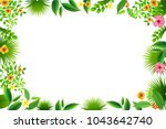 exotic tropical leaf and frower ... | Shutterstock .eps vector #1043642740