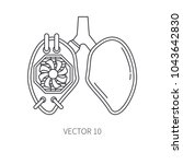 bionic lungs prosthesis line...   Shutterstock .eps vector #1043642830