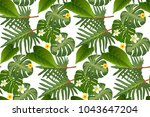 seamless tropical leaf... | Shutterstock .eps vector #1043647204