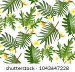 seamless tropical leaf... | Shutterstock .eps vector #1043647228
