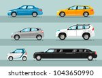different passenger cars. sedan ... | Shutterstock . vector #1043650990