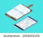 flat isometric illustration... | Shutterstock .eps vector #1043653150