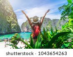 traveler woman with backpack... | Shutterstock . vector #1043654263