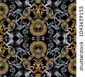 baroque seamless pattern. black ... | Shutterstock .eps vector #1043659153