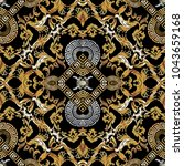 baroque seamless pattern. black ... | Shutterstock .eps vector #1043659168