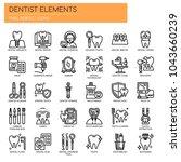 dentist elements   thin line... | Shutterstock .eps vector #1043660239